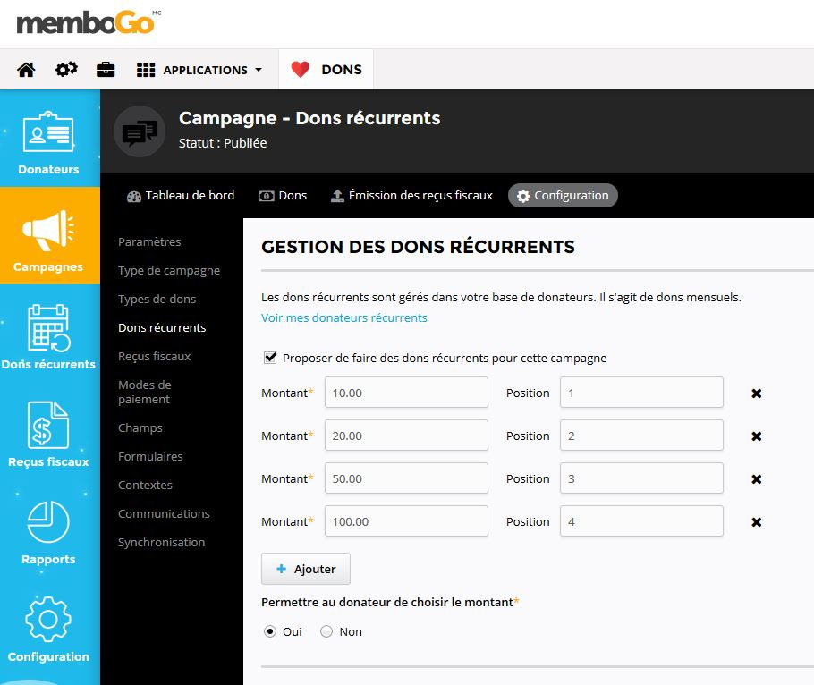 Configuration des dons récurrents