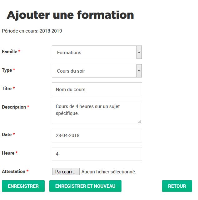 Ajouter une formation